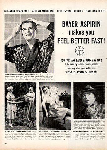 1956 Bayer Aspirin Original Health and Beauty Print Ad - TnTCollectibles