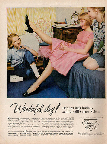 1956 Burlington Nylon Stockings Teen Original Apparel and Fashion Print Ad - TnTCollectibles