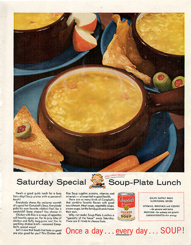 1956 Campbell's Soup Plate Lunch Original Food and Drink Print Ad - TnTCollectibles