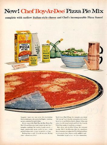 1956 Chef-Boy-Ar-Dee Pizza Original Food and Drink Print Ad - TnTCollectibles