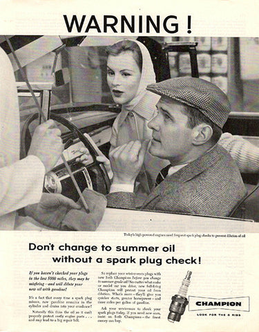 1956 Champion Spark Plugs Original Car and Truck Auto Parts Print Ad - TnTCollectibles