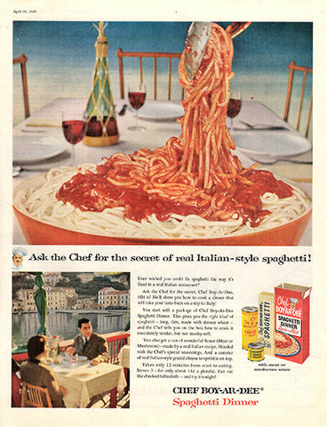 1956 Chef-Boy-Ar-Dee Spaghetti Dinner Original Food and Drink Print Ad - TnTCollectibles