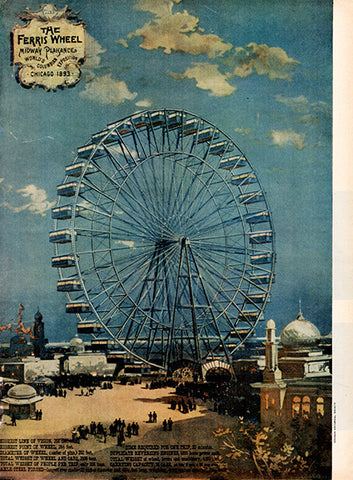 1956 Chicago 1893 Ferris Wheel Art Original Home and Office Print Ad - TnTCollectibles