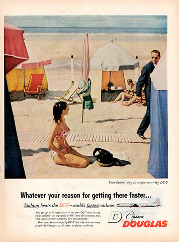 1956 Douglas DC-7 Airplanes Beach Original Transportation Print Ad - TnTCollectibles