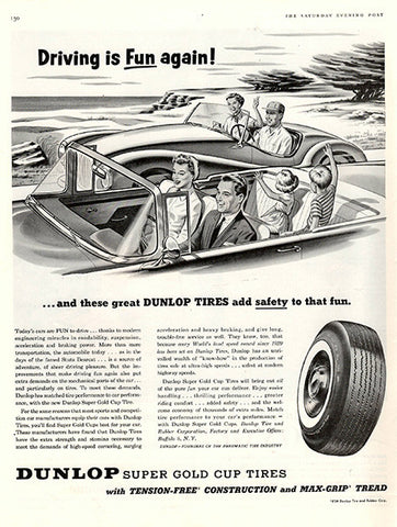 1956 Dunlop Tires Original Auto Parts Print Ad - TnTCollectibles