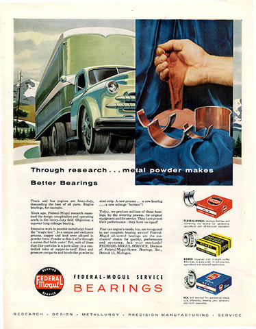 1956 Federal Mogul Bearings Original Auto Parts Print Ad - TnTCollectibles