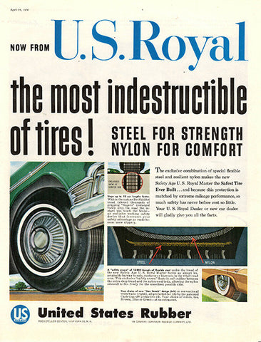 1956 US U.S. Royal Tires Original Auto Parts Print Ad - TnTCollectibles