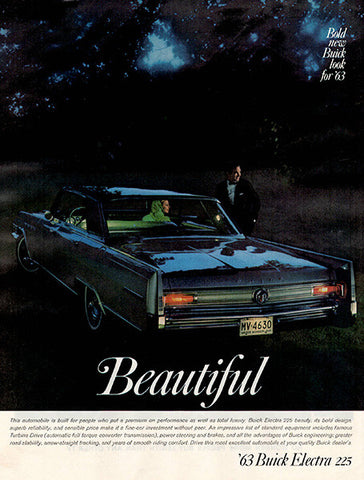 1962 Buick 1963 Electra Automobile Original Car and Truck Print Ad - TnTCollectibles