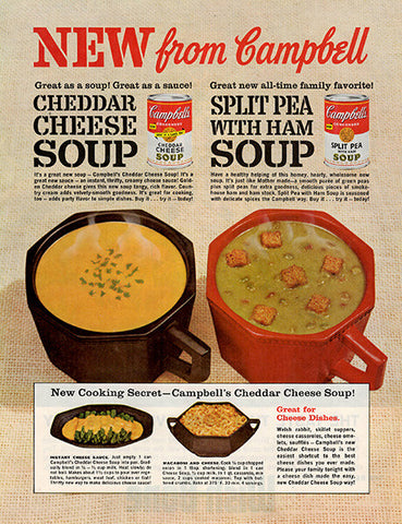 1962 Campbell's Cheddar Cheese and Split Pea Soups Original Food and Drink Print Ad - TnTCollectibles