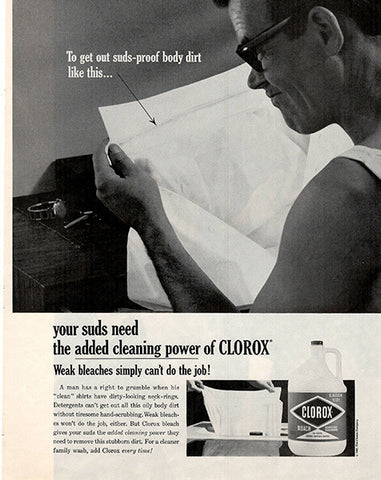1962 Clorox Bleach Original Home and Office Print Ad - TnTCollectibles