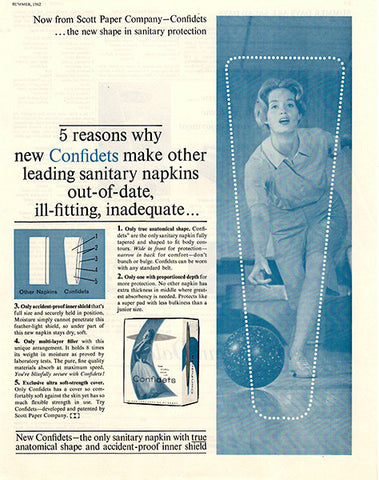 1962 Confidets Sanitary Napkins Original Health and Beauty Print Ad - TnTCollectibles