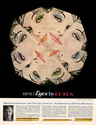 1962 Cutex Eye Shadow Liner Original Health and Beauty Print Ad - TnTCollectibles