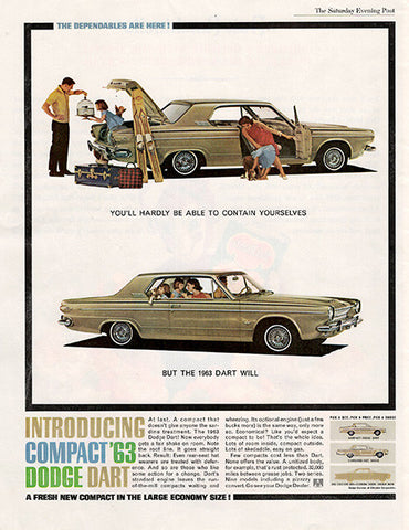 1962 Dodge 1963 Dart Original Car and Truck Print Ad - TnTCollectibles