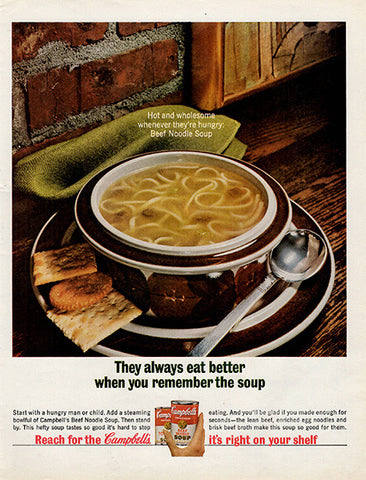 1964 Campbell's Beef Noodle Soup Original Food and Drink Print Ad - TnTCollectibles