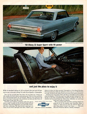 1964 Chevrolet Chevy 2 II Super Sport Original Car and Truck Print Ad - TnTCollectibles