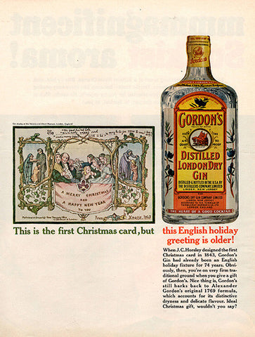 1964 Gordon's Dry Gin First Christmas Card Original Alcohol Print Ad - TnTCollectibles