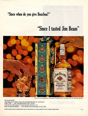 1964 Jim Beam Bourbon Whiskey Original Alcohol Print Ad - TnTCollectibles