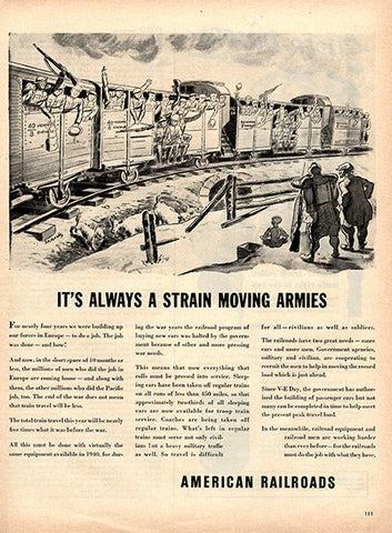 1945 Association of American Railroads Original Army Print Ad - TnTCollectibles