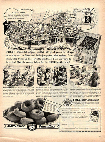 1945 Mayflower Downyflake Original Food and Drink Print Ad - TnTCollectibles