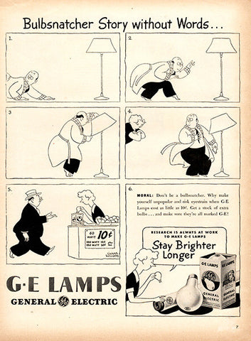 1945 General Electric GE Lamps Light Bulb Original Home Print Ad - TnTCollectibles