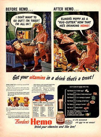 1945 Borden's Hemo Milk Elsie the Cow Original Food and Drink Print Ad - TnTCollectibles