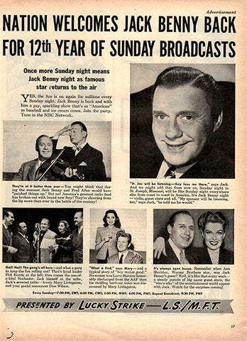 1945 Jack Benny Back On Radio Lucky Strike Original Tobacco Print Ad - TnTCollectibles