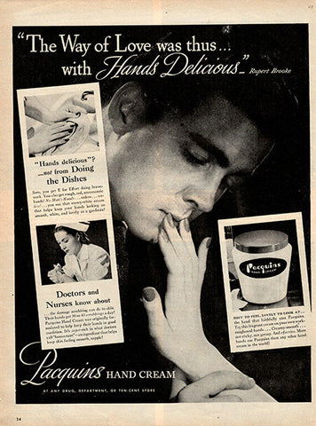 1945 Pacquins Hand Cream Original Beauty Print Ad - TnTCollectibles
