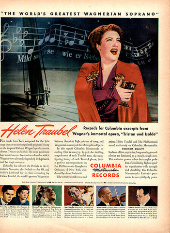 1945 Helen Traubel Columbia Records Original Music Print Ad - TnTCollectibles