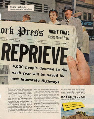 1957 Caterpillar Interstate Highway Original Transportation Print Ad - TnTCollectibles