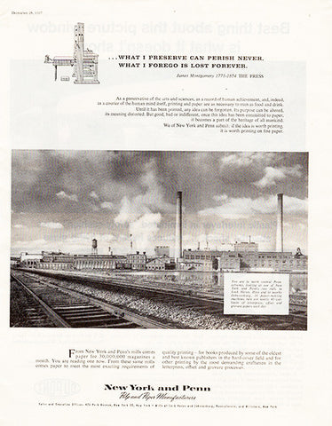 1957 New York and Penn Paper Mill Original Occupation Print Ad - TnTCollectibles