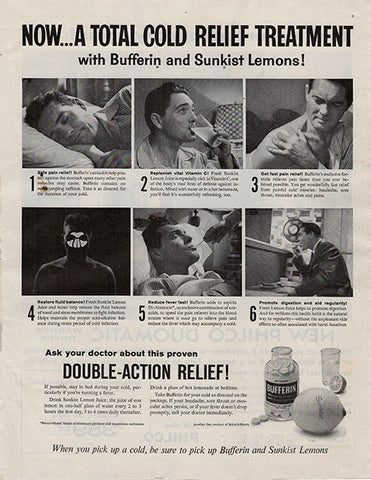 1959 Bufferin Aspirin Sunkist Lemon Original Health and Beauty Print Ad - TnTCollectibles