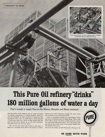 1959 Pure Oil Refinery Original Public Utilities Print Ad - TnTCollectibles