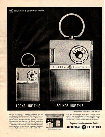 1961 General Electric Portable Radio Original Home and Office Print Ad - TnTCollectibles