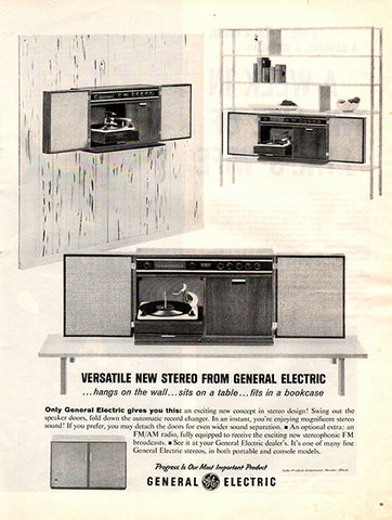 1961 General Electric Home Stereo Original Home and Office Print Ad - TnTCollectibles