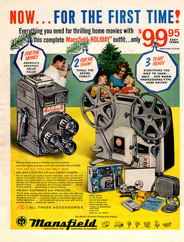 1961 Mansfield Movie Camera Original Home and Office Print Ad - TnTCollectibles
