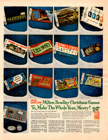 1961 Milton Bradley Board Games Original Home and Office Print Ad - TnTCollectibles