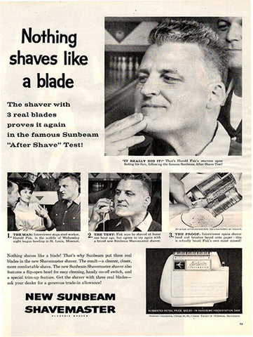 1961 Sunbeam Shavemaster Electric Razor Original Home and Office Print Ad - TnTCollectibles
