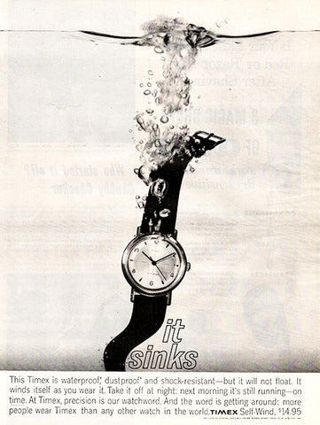 1961 Timex Waterproof Watches Original Jewelry Print Ad - TnTCollectibles