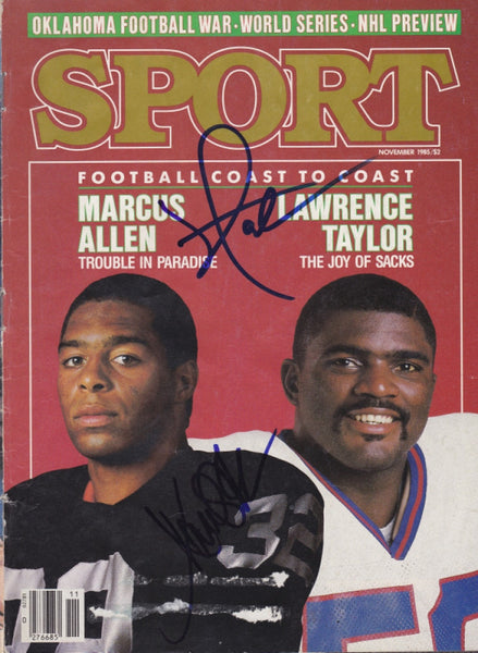 Collectible Marcus Allen / Lawrence Taylor Dual Autograph Hand Signed Sport Magazine - TnTCollectibles