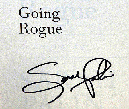 Historical Political Collectible Sarah Palin Autograph Hand Signed Going Rogue Book - TnTCollectibles - 1