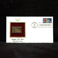 2003 USPS First Day Issue Chinese New Year Stamp plus Gold Replica - TnTCollectibles