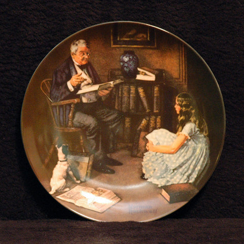 84 Norman Rockwell The Storyteller Knowles Fine China Plate - TnTCollectibles