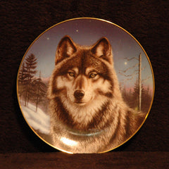 1994 Winter Solitude by James Meyer Porcelain Wolf Plate - TnTCollectibles