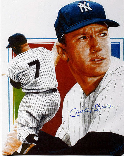 Mickey Mantle Hand-Signed Autographed Leon Wolf Color Print - TnTCollectibles