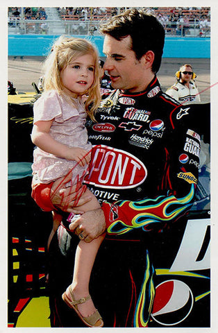 Collectible NASCAR Racing Legend Jeff Gordon Autograph Signed Photo With Daughter - TnTCollectibles