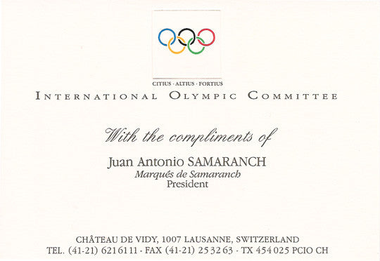 Olympics President Juan Antonio Samaranch Autograph Hand-Signed Photo - TnTCollectibles - 2