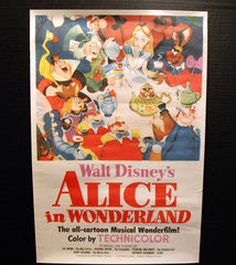 Rare Antique 1951 Disney Alice in Wonderland Poster 16x24 - TnTCollectibles