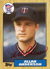2 Time World Series Champion Pitcher Allan Anderson Autograph Twins Signed Card - TnTCollectibles - 1