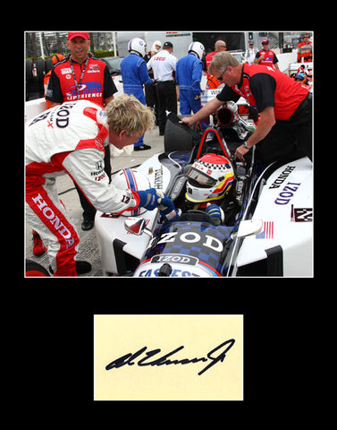 Framed Matted 2x Indy 500 Winner Al Unser Jr Hand Signed Autograph and Photo - TnTCollectibles