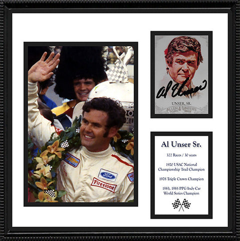 4x Indy 500 Winner Al Unser Sr Autograph Hand Signed Framed Card and Photo - TnTCollectibles